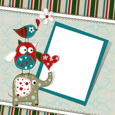 Template greeting card, vector scrap illustration Stock Vector - 15605101