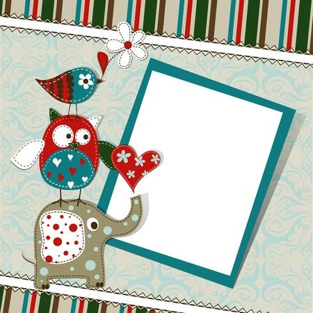 Template greeting card, vector scrap illustration Stock Vector - 15605101
