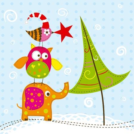 christmas owl: Template christmas greeting card, vector illustration