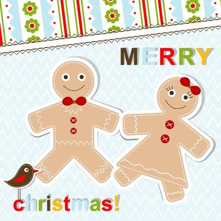 gingerbread man: Template christmas greeting card, illustration Illustration