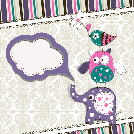 cute cards: Template greeting card, scrap illustration