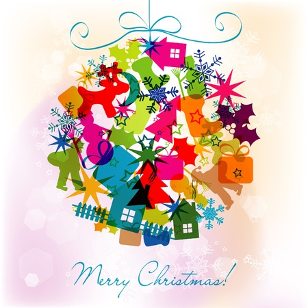 Template Christmas greeting card, vector illustration Stock Vector - 16683852