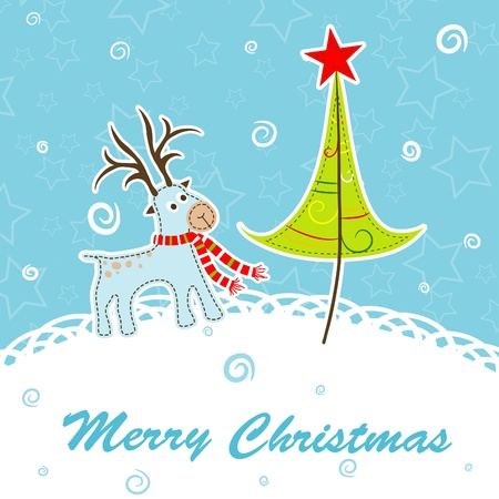 Scrapbook Christmas greeting card for design, vector illustration Stock Vector - 16683789