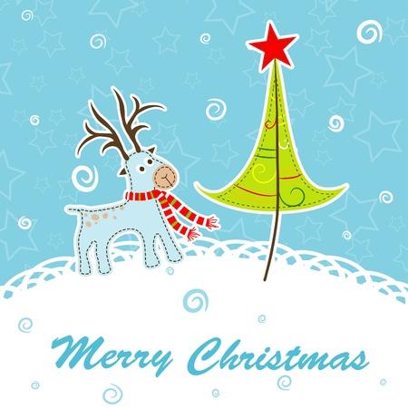 Scrapbook Christmas greeting card for design, vector illustration Stock Vector - 16683789