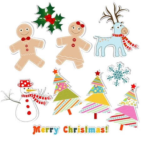 Christmas set for greeting card, vector illustration Stock Vector - 16683817