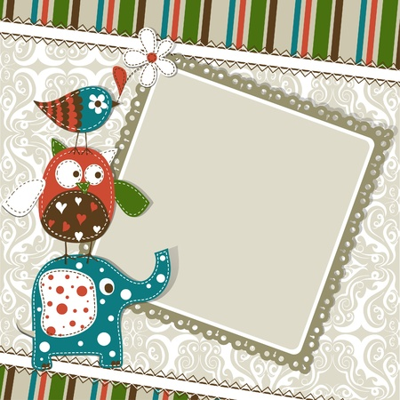 Template greeting card, vector scrap illustration Stock Vector - 16683836