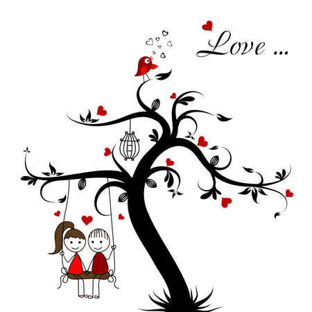 girl in love: Love story card, vector illustration Illustration