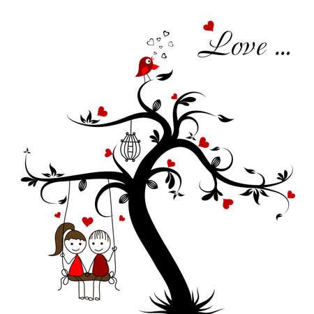 girl in love: Love story card, vector illustration Illustration