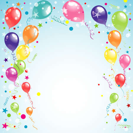 festive occasions: Color beautiful party balloons, vector illustration
