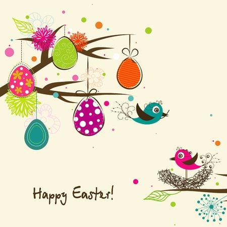 arbol de pascua: Tarjeta Plantilla de felicitación de Pascua, ilustración