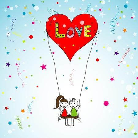 love story: Love story card, vector illustration Illustration
