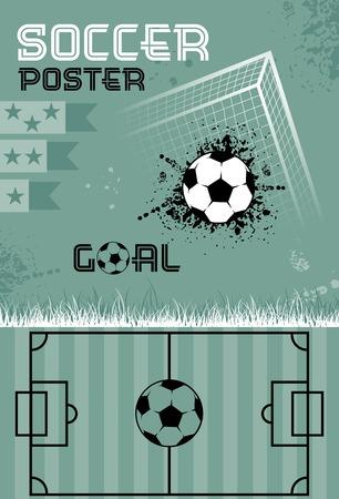 Template soccer poster, vector illustration Vector