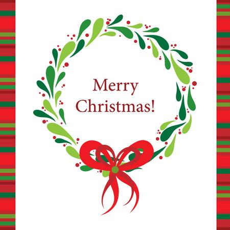 corona navidad: Tarjeta de felicitación de Navidad de plantilla, ilustración vectorial