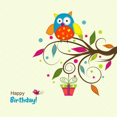 birthday greetings: Template greeting card, vector illustration
