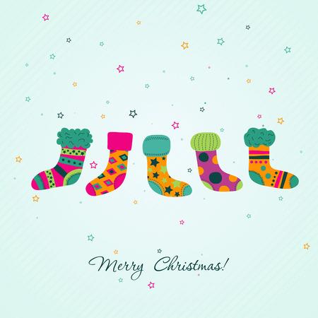 christmas sock: Template Christmas greeting card, vector illustration