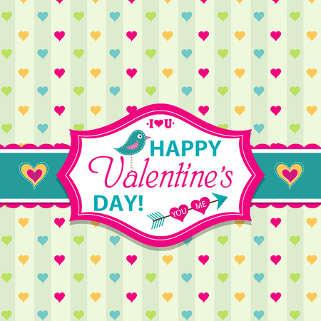 Valentines day cards with ornaments, vector illustration Vector