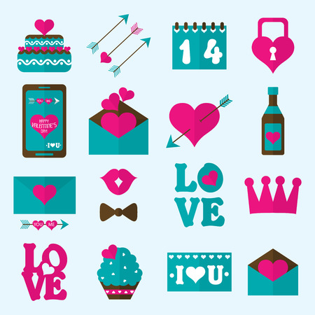 kiss biscuits: Valentine flat icon, vector illustration
