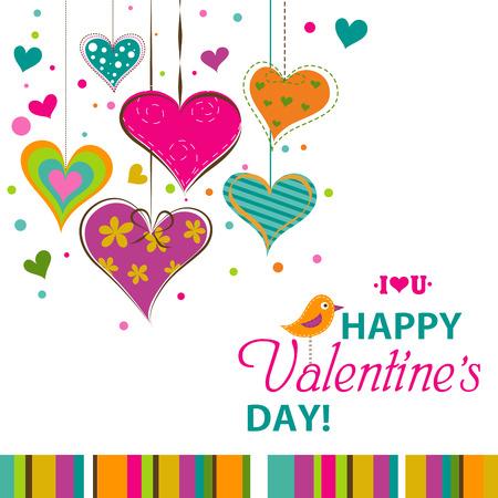 valentine heart: Template Valentine greeting card, vector illustration