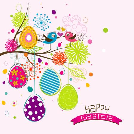 easter tree: Template Easter greeting card, vector illustration Illustration