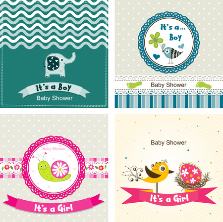 baby bird: Template greeting card, vector illustration