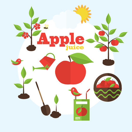 tree planting: Vector garden illustration in flat style. Planting apple trees, harvesting, processing apples into juice.