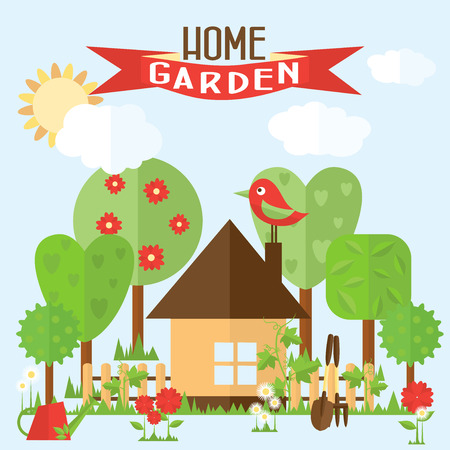 house fly: Vector garden illustration in flat style. Garden around the house with a fence. Flowers in front of house.