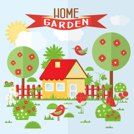 fence: garden illustration in flat style. Illustration