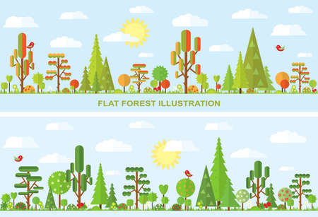 grass: Flat vector tree illustration, autumn, spring, summer, flower, spruce