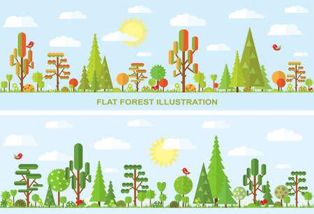 spruce: Ilustraci�n del vector del �rbol plano, oto�o, primavera, verano, flor, abeto