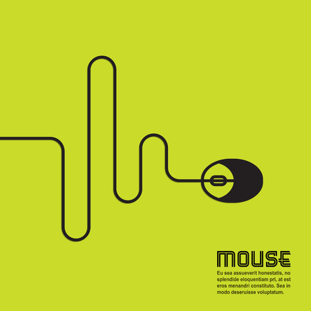 computer mouse icon: Line in the form of a computer mouse with space for text, vector Illustration