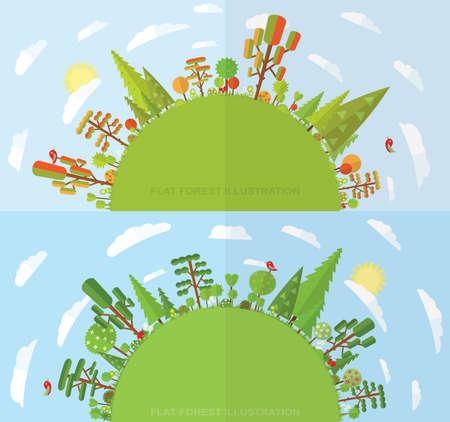 forest wood: Flat vector tree illustration, autumn, spring, summer, flower, spruce
