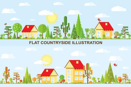 cottage garden: Flat vector tree and house illustration, autumn, spring, summer