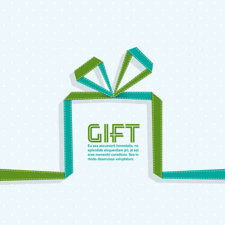 texts: Gift in the style of origami ribbon, vector illustration Illustration