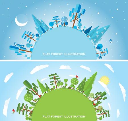 grass flowers: Flat vector forest illustration, winter, spring, summer Illustration