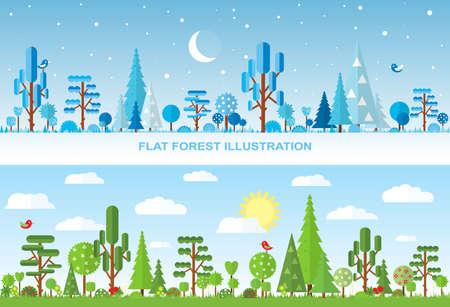 tree  forest: Flat vector forest illustration, winter, spring, summer Illustration