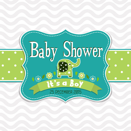 Template greeting card -  baby shower, vector illustration Illustration
