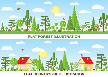 paisaje rural: Vector de espacios de la casa ilustración, campo, primavera, verano Vectores