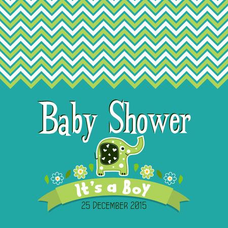 baby shower boy: Template greeting card -  baby shower, vector illustration Illustration
