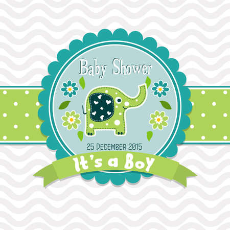 baby shower background: Template greeting card -  baby shower, vector illustration Stock Photo