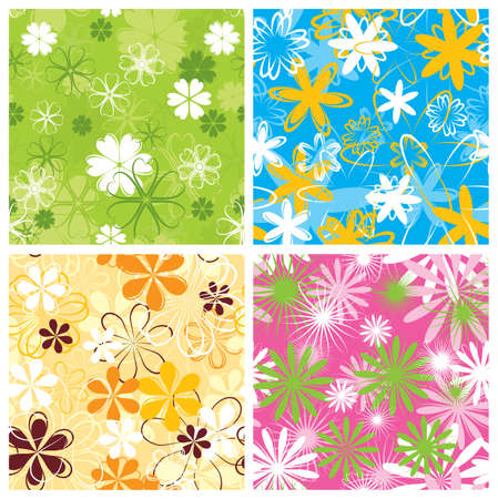 Retro floral pattern, seamless, vector illustration Stock Photo