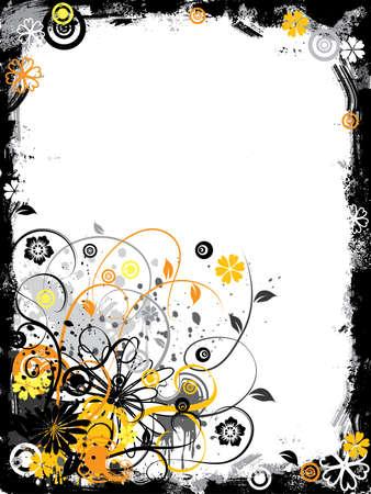 bordure floral: Grunge floral fronti�re, illustration vectorielle