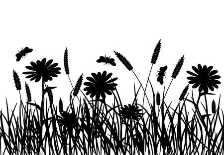 Grass and flower, vector illustration