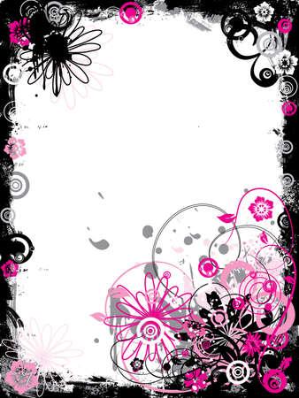 Grunge floral border, vector illustration