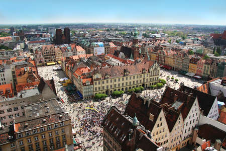 elisabeth: Wroclaw town market and town hall. View from St. Elisabeth Church spire. Stock Photo