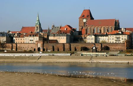 torun: View of Torun from left shore of Vistula river