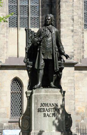 thomas: Statue of Johann Sebastian Bach and Saint Thomas church in Leipzig, Germany