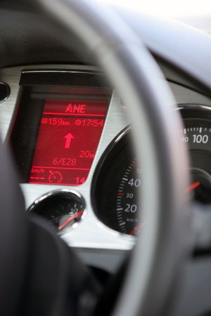 Dashboard of a new car, display with satellite navigation guidelines can be seen Stock Photo - 3327024