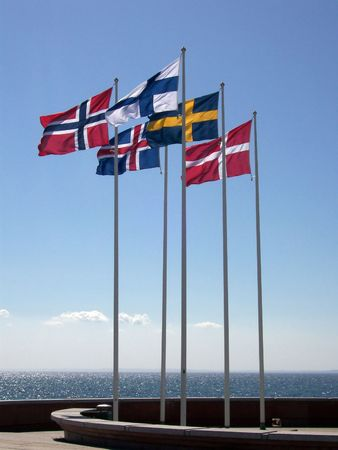 flagpoles: The five flags of the scandinavien nations of Sweden