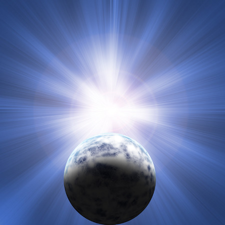 planet orbiting an exploding star is about to be destroyed Stock Photo