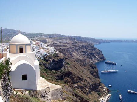 Image of a church on the greek island of santorini Stock Photo